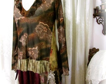 Shabby Gypsy Top, bohemian top, womens recreated clothing, brown earth tones, hem ruffles, boho gypsy top, womens MEDIUM