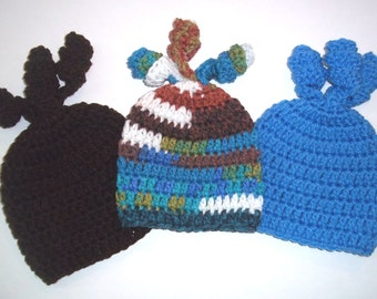 Crochet Beanie Hat Three Pack for Baby Boy 0-6 mos.  Blue and Brown