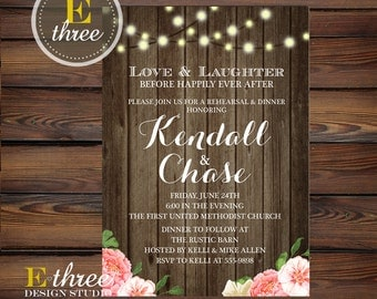Rustic Rehearsal Dinner Invitation - Wood, Pink flowers, String Lights - Barn Rehearsal Dinner #1007