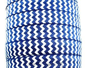 Navy Chevron Fold Over Elastic- Fold Over Elastic, Hair Elastic Bracelet, Elastic, Hair Elastic Tie, Elastic Ribbon, Elastic Hair Band