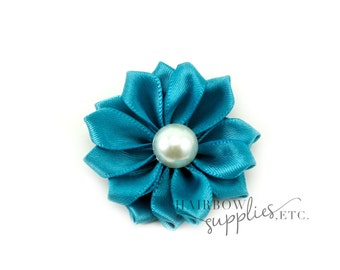Teal Dainty Star Flowers with Pearl 1-1/2 inch - Teal Fabric Flowers, Teal Silk Flowers, Teal  Hair Flowers, Teal Flowers for Hair