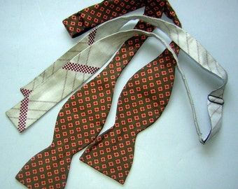 Vintage Silk Bow Ties Neck Ties Lot of 2 - Clearance Gift Idea for Him