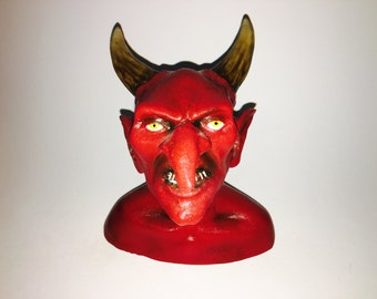 Horned Devil Man Bust Sculpture Handmade Horror Art