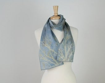 hand dyed and printed silk scarf in pale silver blue gray and tan with tree and wild sweet pea