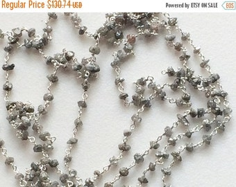 """50% ON SALE 12"""" Grey Raw Diamonds Rosary Chain, Grey Rough Diamond Wire Wrapped Beaded Chain, 925 Sterling Silver, Conflict Free, 2.5-3.5mm"""