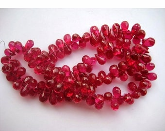 50% VALENTINE SALE Lab Created Ruby Beads/ Tear Drop Beads/ Briolette Beads/ Faceted Briolette/ Imitation Ruby/ 60 Pieces, 6x12mm Each, 8Inc
