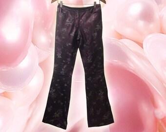 90s Boho Purple Leather Floral Handpainted Design Boot Cut Pants size 4