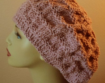 Mauve Hand Knit Gathered Stitch Roomy Slouchy Hat