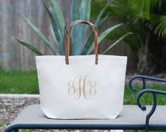 Personalized Custom Monogram Canvas Beach Tote Bag, Bridesmaids Bag, Beach Tote, Large Tote Bag, Market Tote, Wedding Bag, Overnight Bag