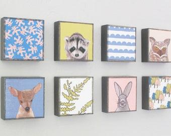 woodland nursery art- eight set of art blocks- kids room decor- neutral nursery deer owl rabbit raccoon, woodland decor,  redtilestudio
