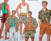 Size XS S M L XL Vintage Men's Pull On Pants or Shorts Shirt and Racer Back Tank Top Sewing Pattern Simplicity 7265 UNCUT