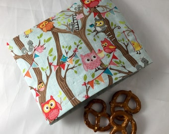 Reusable Snack Bag - Reusable Baggie - Owl Snack Bag - Fabric Snack Bag - Reusable Fabric Snack Bag - Reusable Baggie - Owl Snack Bag