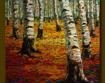 Autumn Birch Forest Modern Landscape Painting Oil on Canvas Textured Palette Knife Original Tree Art 30X30 by Willson Lau