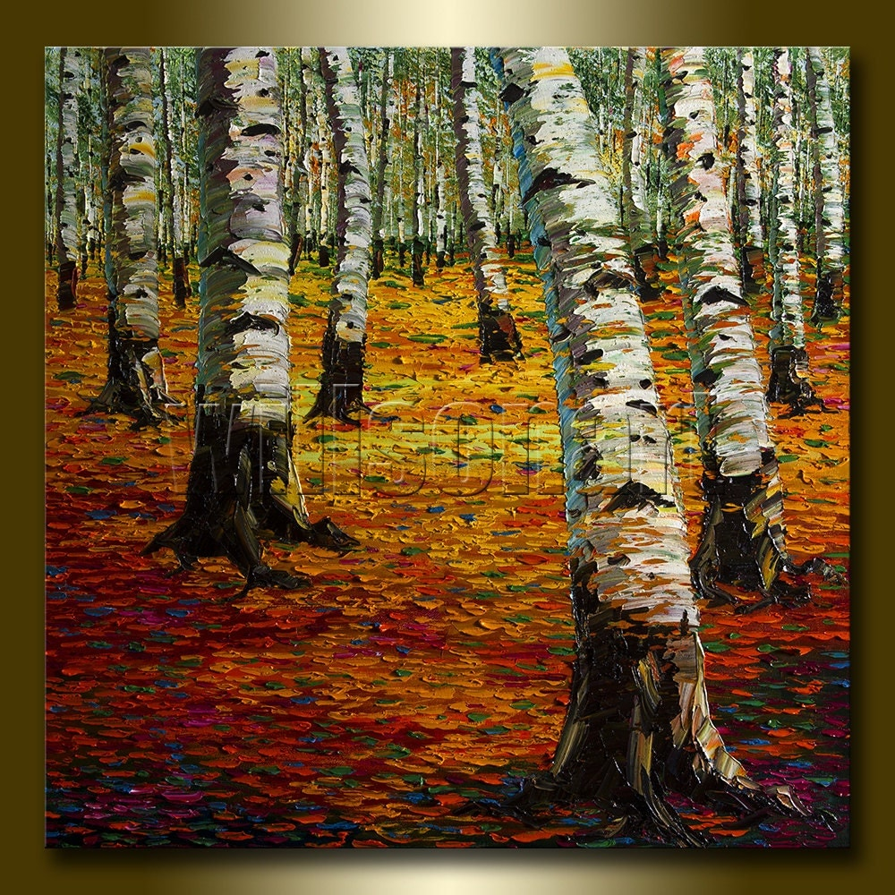 Modern Forest House: Autumn Birch Forest Modern Landscape Painting Oil On Canvas