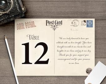 Vintage Wedding Table Numbers, 5x7, Table Numbers, Postcard Design tn0025