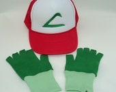 Ash Ketchum Trainer  Hat and Dark green Gloves set  Halloween costume Pokemon Choose your Size