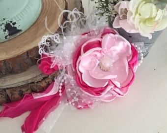 Pink bling flower headband cozette couture spring headband