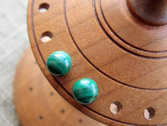 Malachite Sterling silver stud earrings - studs 6mm dark green banded ball posts