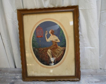 Art Deco Print Female Scene Entitled Miss Mischeif Signed Le Boulte