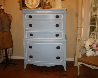 Awesome Shabby Chic Dresser High Boy Annie Sloan Chalk Paint Blue White Huntley  Furniture Signed Louise Blue