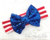 4th of July Bow Headband, Baby Headband, Fourth of July Head Wrap, Girls Headband, 4th of July Headbands, READY TO SHIP