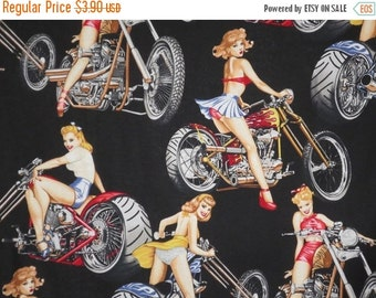 ON SALE REMNANT--Babes on Bikes on Black Print Pure Cotton Fabric--21 Inches