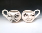 Two white lady moon cups,  moon faces Hand Drawn on White Porcelain Cups, Gifts for Moon Lovers