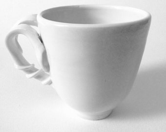 White Coffee Cups, Handmade Porcelain, Cups and Mugs, Ceramic Cup in white