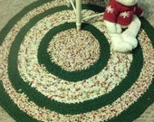 "Round Rag Rug-Crocheted-30"" round crocheted rag rug-Reversible-Machine Washable and Dryable-New Cotton Fabric Rag Rug-Christmas rug-Country"