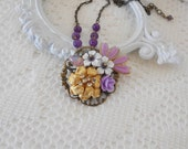 Amethyst Necklace, Purple Necklace, Floral Assemblage Jewelry, Upcycled Vintage, OOAK Necklace, Purple Wedding, Amethyst Gemstone Necklace
