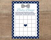 Navy & Grey Baby Shower Bingo Card, Bow Tie Baby Shower Game, Baby Boy, INSTANT DOWNLOAD