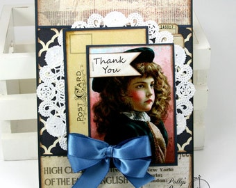 Vintage Victorian Thank You Greeting Card 2 Handmade