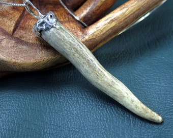Deer Antler Pendant with Sterling Silver Bail - Free Domestic Shipping to US
