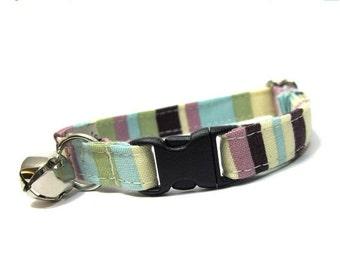 ON SALE Preppy Purple Stripes Cat Collar