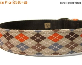 ON SALE Argyle Dog Collar...Orange and Brown Argyle