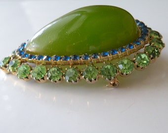Faux jade blue light green rhinestone dome domed brooch pin