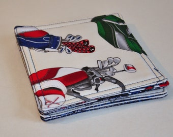 Coasters Fabric Drink Coasters  Golf clubs Set of 5  - LAST SET