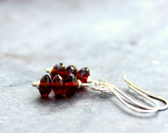 Garnet Earrings Sterling Silver Red Gemstone Stacked Beaded Earrings, January Birthstone
