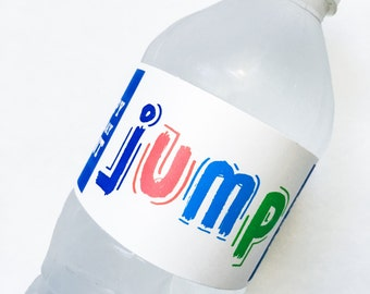 Jump Collection. Water Bottle Label. PERSONALIZED. DiY Printable Design. Pinkadot Shop