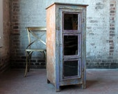 Reclaimed Cabinet Wine Storage Media Storage Bar Cabinet Record Storage Indian Furniture Bohemian Distressed Purple Color