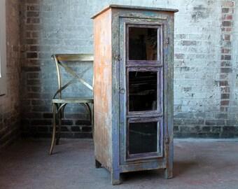 Reclaimed Cabinet Wine Storage Media Storage Bar Cabinet Record Storage Indian Furniture Bohemian Distressed Purple Color
