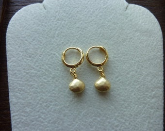 BULLION-WireWrapped MicroFaceted Irregular Pear Shape Briolettes with Hoop Earwire Earrings