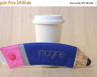 FINAL CLEARANCE Pencil Coffee Cup Sleeve - Blue Imagine Coffee Cozy - Ready to Ship