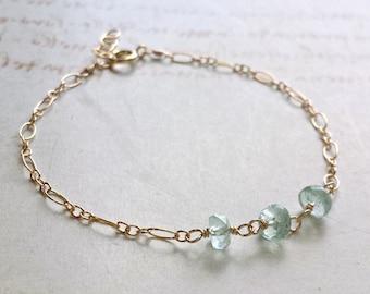 Dainty Aquamarine Bracelet, Tiny Ruby Bracelet, Aqua Ombre Anklet, Tiny Turquoise Bracelet:  Ready to Ship
