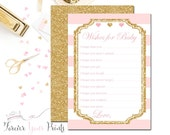 PINK and GOLD Girls Baby Shower Advice Cards, Advice for Baby Cards, Wishes for The Baby Cards, Girls Baby Shower, Gold Glitter Baby Shower