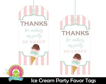 Ice Cream Favor Tags / Ice Cream Gift Tags / Ice Cream Shoppe Birthday / Ice Cream Party / Ice Cream Shoppe Printables /  INSTANT DOWNLOAD