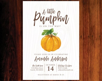 Little Pumpkin Baby Shower invitation, Fall baby shower invitation, pumpkin invitation - set of 15