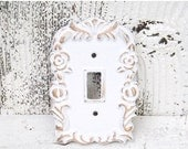 SUMMER SALE Shabby Chic Light Switch Cover /White with Gold Single Light Switch Plate / Decorative Light Switch Cover