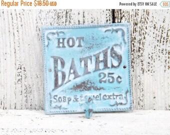 Shabby Chic Bath Hook / Cast Iron Bathroom Sign /Shabby Chic Bath Sign /Bathroom Hook  / Shabby Chic Decor/ Aqua