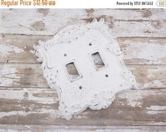 Light Switch Cover / Shabby Chic Light Switch Cover / White Light Plate  / Double Light Switch Cover